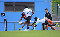 Caleb Cavubati scores during the rugby match between New Zealand Schools Barbarians and Fiji Schools at Jerry Collins Stadium in Porirua, Wellington, New Zealand on Friday, 1 October 2018. Photo: Dave Lintott / lintottphoto.co.nz