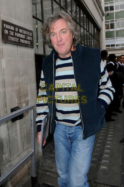 James May arriving at BBC Radio 1, London, England..21st November 2011.half length black grey gray blue beige striped stripes jumper sweater sleeveless hand in pocket jeans denim .CAP/IA.©Ian Allis/Capital Pictures.