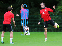 (L-R) Joe Allen and Gareth Bale in action during the Wales Training Session at the Vale Resort, Hensol, Wales, UK. Tuesday 29 August 2017