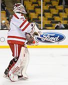 Kieran Millan (BU - 31) - The Harvard University Crimson defeated the Boston University Terriers 5-4 in the 2011 Beanpot consolation game on Monday, February 14, 2011, at TD Garden in Boston, Massachusetts.