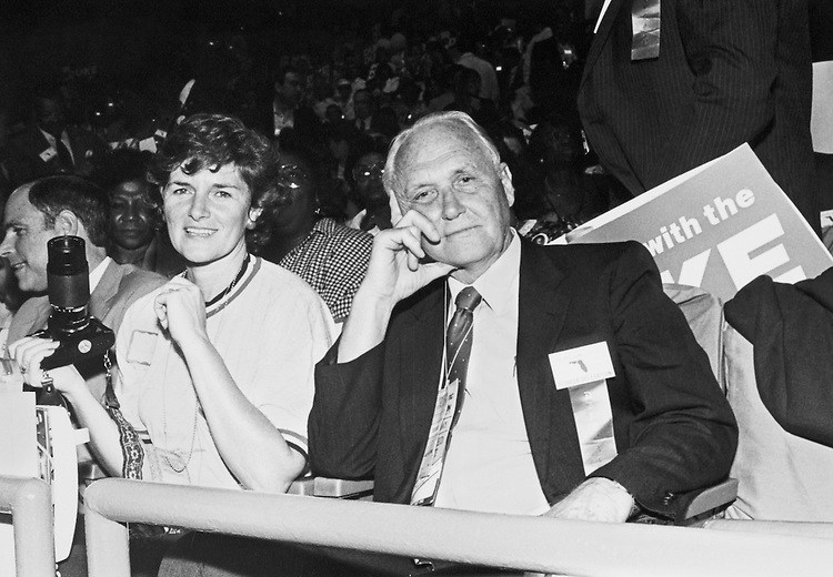 Rep. Bill Chappell, D-Fla. with Katie Tucker, Director of Revenue State of Florida, on July, 1988. (Photo by Andrea Mohin/CQ Roll Call)