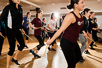 Students dance during Tap Performance class at the Holmes Athletic Center at Simmons College, one of the Colleges of the Fenway, in Boston, Massachusetts, USA, on Mon., March 13, 2017. The students were preparing for their Spring Showcase performance in April.