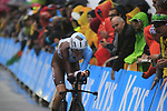 Romain Bardet (FRA) AG2R La Mondiale in action during Stage 1, a 14km individual time trial around Dusseldorf, of the 104th edition of the Tour de France 2017, Dusseldorf, Germany. 1st July 2017.<br /> Picture: Eoin Clarke | Cyclefile<br /> <br /> <br /> All photos usage must carry mandatory copyright credit (&copy; Cyclefile | Eoin Clarke)