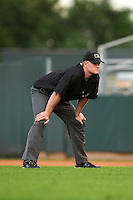 Umpire Thomas Roche during a game between the Kane County Cougars and Cedar Rapids Kernels on August 18, 2015 at Perfect Game Field in Cedar Rapids, Iowa.  Kane County defeated Cedar Rapids 1-0.  (Mike Janes/Four Seam Images)