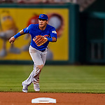 6 October 2017: Chicago Cubs shortstop Addison Russell in action during the first game of the NLDS against the Washington Nationals at Nationals Park in Washington, DC. The Cubs shut out the Nationals 3-0 to take a 1-0 lead in their best of five Postseason series. Mandatory Credit: Ed Wolfstein Photo *** RAW (NEF) Image File Available ***