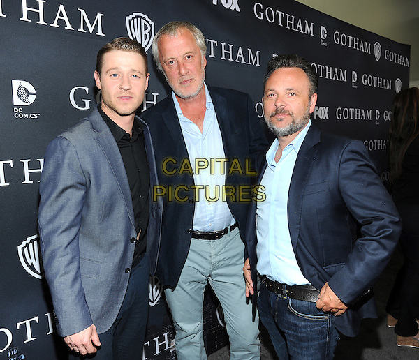 LOS ANGELES - APRIL 28: Ben McKenzie and Executive Producers Danny Cannon (L) and Bruno Heller attends FOX's 'Gotham' finale screening event at The Landmark Theatre on April 28, 2015 in Los Angeles, California. <br /> CAP/MPI/PGFM<br /> &copy;PGFM/MPI/Capital Pictures