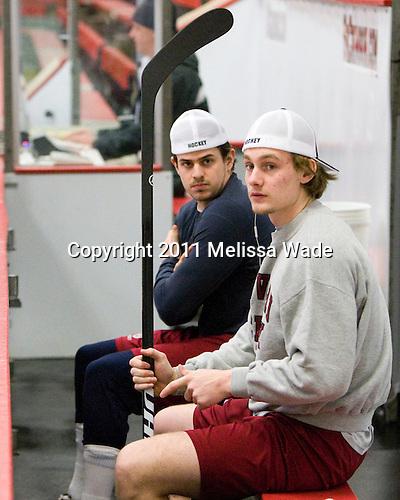 Alex Killorn (Harvard - 19), Alex Fallstrom (Harvard - 16) - The Harvard University Crimson defeated the visiting Colgate University Raiders 6-2 (2 EN) on Friday, January 28, 2011, at Bright Hockey Center in Cambridge, Massachusetts.