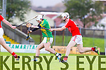 Rickey Heffernan Lixnaw in action against Tony Burke Bruff in the Munster Club Intermediate Hurling Championship Semi Final at Austin STacj Park on Sunday.