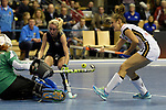 Berlin, Germany, February 10: During the FIH Indoor Hockey World Cup semi-final match between Belarus (dark blue) and Germany (white) on February 10, 2018 at Max-Schmeling-Halle in Berlin, Germany. Final score 2-3. (Photo by Dirk Markgraf / www.265-images.com) *** Local caption *** Marie MAEVERS #23 of Germany