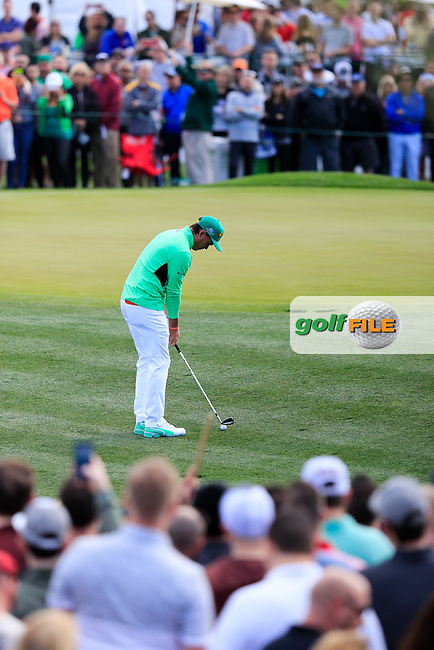 Rickie Fowler (USA) on the 2nd green during the 3rd round of the Waste Management Phoenix Open, TPC Scottsdale, Scottsdale, Arisona, USA. 02/02/2019.<br /> Picture Fran Caffrey / Golffile.ie<br /> <br /> All photo usage must carry mandatory copyright credit (© Golffile | Fran Caffrey)