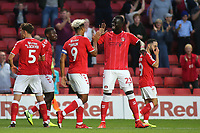 Lyle Taylor celebrates scoring Charlton's opening goal with Naby Sarr during Charlton Athletic vs Nottingham Forest, Sky Bet EFL Championship Football at The Valley on 21st August 2019