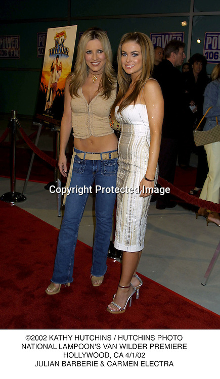 ©2002 KATHY HUTCHINS / HUTCHINS PHOTO.NATIONAL LAMPOON'S VAN WILDER PREMIERE.HOLLYWOOD, CA 4/1/02.JULIAN BARBERIE & CARMEN ELECTRA