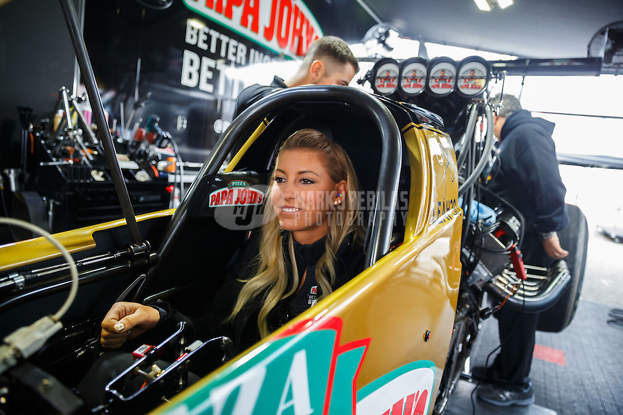 Feb 10, 2017; Pomona, CA, USA; NHRA top fuel driver Leah Pritchett during qualifying for the Winternationals at Auto Club Raceway at Pomona. Mandatory Credit: Mark J. Rebilas-USA TODAY Sports