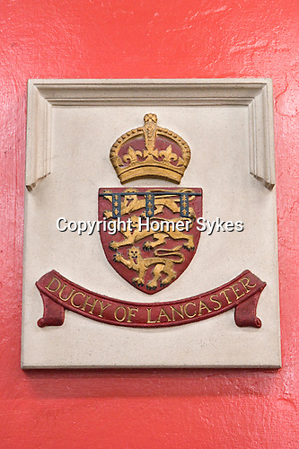 Dutchy of Lancaster, Coat of Arms in the Moot Hall, Wirksworth Derbyshire 2015.