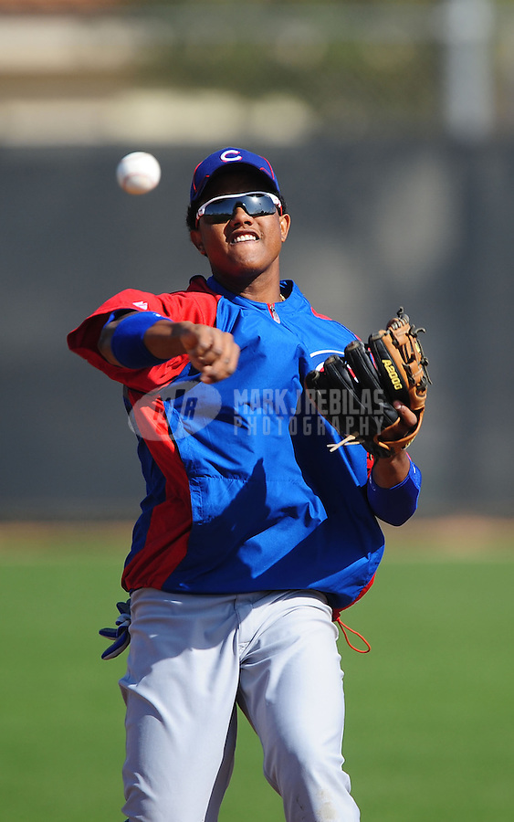 Feb. 29, 2012; Mesa, AZ, USA; Chicago Cubs shortstop Starlin Castro during spring training workouts at Fitch Park.  Mandatory Credit: Mark J. Rebilas-.