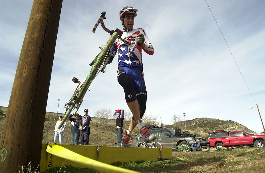 Olympic athlete Todd Wells competes in a local cyclocross event in Durango, Colorado in 2002.