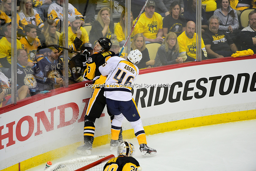 May 31, 2017: Nashville Predators left wing Pontus Aberg (46) checks Pittsburgh Penguins defenseman Olli Maatta (3) during game two of the National Hockey League Stanley Cup Finals between the Nashville Predators  and the Pittsburgh Penguins, held at PPG Paints Arena, in Pittsburgh, PA. The Penguins defeat the Predators 4-1 and lead the series 2-0. Eric Canha/CSM