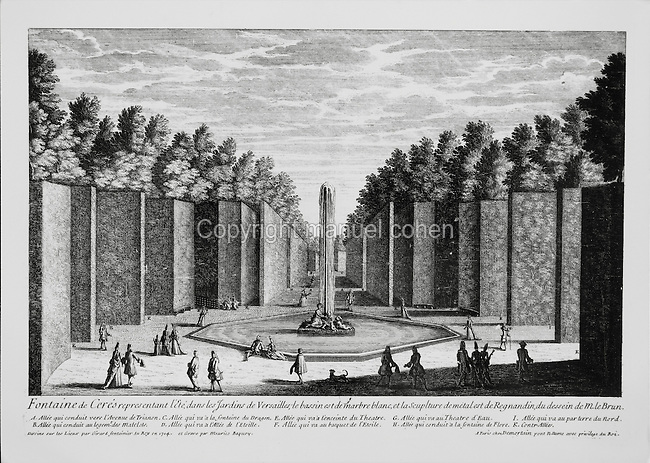 The Ceres fountain representing Summer, in the gardens of the Palace of Versailles, with a white marble basin and metalwork by Regmandin, based on designs by le Brun. Engraving by Maurice Baquoy after drawings made in situ by Girard,  royal fontanier in 1714. Copyright © Collection Particuliere Tropmi / Manuel Cohen