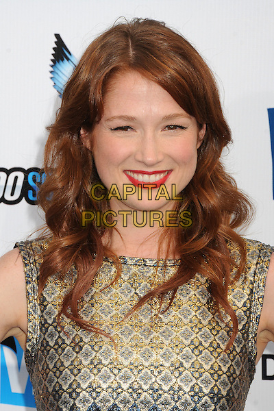Ellie Kemper.The 2012 Do Something Awards at the Barker Hangar in Santa Monica, California, USA..August 19th, 2012.headshot portrait gold sleeveless print red lipstick .CAP/ADM/BP.©Byron Purvis/AdMedia/Capital Pictures.