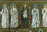 Ravenna: Painting--The Virgin and Child on Throne, 6th century. Basilica of Nuovo Sant'Apollinare.