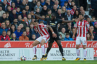 Geoff Cameron of Stoke City holds off Romelu Lukaku of Man Utd during the Premier League match between Stoke City and Manchester United at the Britannia Stadium, Stoke-on-Trent, England on 9 September 2017. Photo by Andy Rowland.