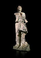 Roman statue of Alexander The Great. Marble. Perge. 2nd century AD. Inv no 2.23.93. Antalya Archaeology Museum; Turkey. Against a black background.