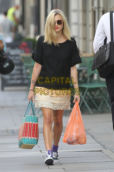 Fearne Cotton in central London, England..August 6th, 2012.full length black top pink beige lace skirt sunglasses shades red turquoise bag purse sainsbury's plastic carrier shopping bag  .CAP/HIL.©John Hillcoat/Capital Pictures .