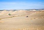 Tractor in fields farming landscape in rural Cadiz province near El Gastor village, Spain