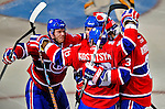 22 April 2009: Montreal Canadiens' center and Team Captain Saku Koivu from Finland (left) celebrates the first goal of the game during the first period against the Boston Bruins at the Bell Centre in Montreal, Quebec, Canada. The Bruins advanced to the Eastern Semi-Finals, eliminating the Canadiens from Stanley Cup competition with a 4-1 win and series sweep. ***** Editorial Sales Only ***** Mandatory Credit: Ed Wolfstein Photo
