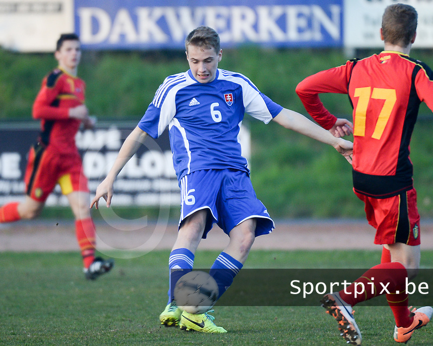 20140312 - MEULEBEKE , BELGIUM : Slovak Martin Simko pictured during a friendly soccer match between the Under16 soccerteams of Belgium and Slovakia , Wednesday 12 March 2014 in Meulebeke . PHOTO DAVID CATRY