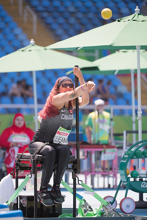 RIO DE JANEIRO - 12/9/2016:  Pamela LeJean competes in the Women's Shot Put - F53 Final at the Olympic Stadium during the Rio 2016 Paralympic Games in Rio de Janeiro, Brazil. (Photo by Matthew Murnaghan/Canadian Paralympic Committee