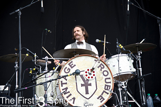 Richard Danielson of Vintage Trouble performs during the The Beale Street Music Festival in Memphis, Tennessee.