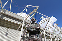 A general view of the statue of Ivor Allchurch MBE outside the Liberty Stadium prior to kick off of the pre-season friendly match between Swansea City and Sampdoria at The Liberty Stadium, Swansea, Wales, UK. 05 August 2017