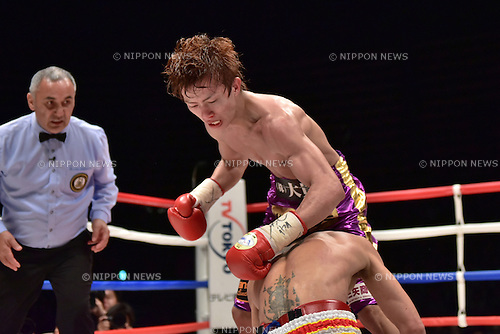 (T-B) Ryoichi Taguchi (JPN), Kwanthai Sithmorseng (THA),<br /> MAY 6, 2015 - Boxing :<br /> Ryoichi Taguchi of Japan knocks down Kwanthai Sithmorseng of Thailand in the sixth round during the WBA light flyweight title bout at Ota-City General Gymnasium in Tokyo, Japan. (Photo by Hiroaki Yamaguchi/AFLO)