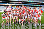 Pobalscoil Chorca Duibhne players celebrate defeating St.Patrick's College Maghera in the Hogan Cup Final, in Croke Park, Dublin on Saturday.