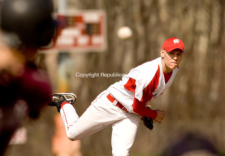 WOLCOTT, CT- 19 APRIL 2007-041907JS05-Wolcott's Spencer Kane delivers a pitch during their game against Naugatuck Thursday at Wolcott High School.-- --Jim Shannon / Republican-American