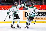 Stockholm 2014-03-27 Ishockey Kvalserien Djurg&aring;rdens IF - R&ouml;gle BK :  <br /> R&ouml;gles Robin Sterner har kvitterat till 1-1 och gratuleras av R&ouml;gles Mathias Tj&auml;rnqvist <br /> (Foto: Kenta J&ouml;nsson) Nyckelord:  DIF Djurg&aring;rden R&ouml;gle RBK Hovet jubel gl&auml;dje lycka glad happy