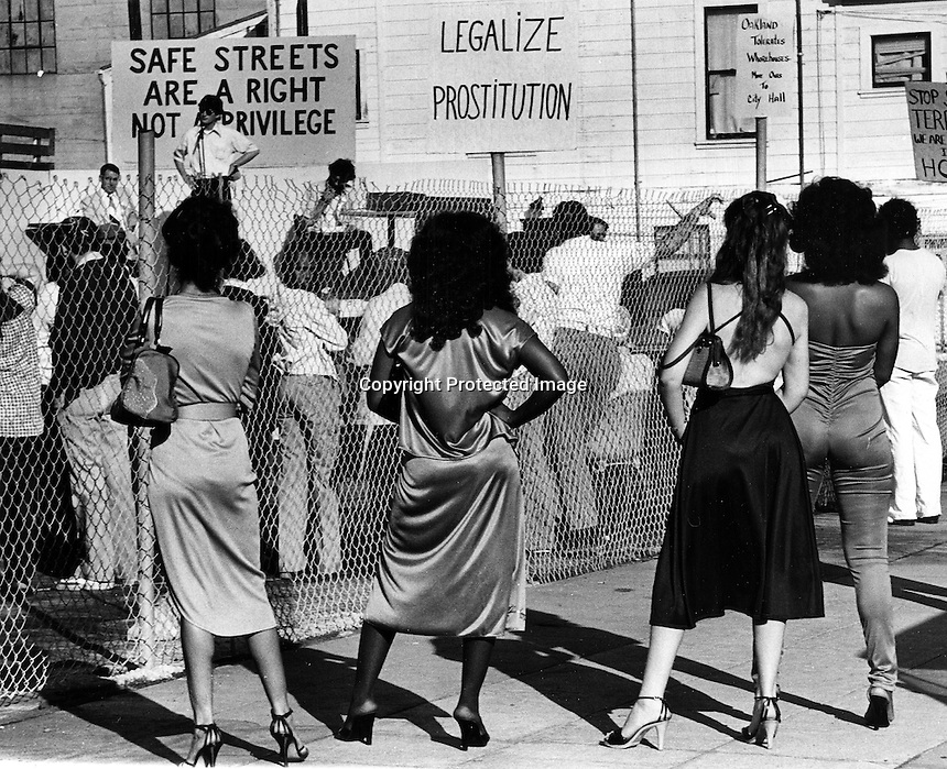 Oakland, California: group of ladies watching  a safe streets rally. (photo/Ron Riesterer)