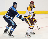 Mark Nemec (Maine - 3), David Grun (Duluth - 27) - The University of Minnesota Duluth Bulldogs defeated the University of Maine Black Bears 5-2 in their NCAA Northeast semifinal on Saturday, March 24, 2012, at the DCU Center in Worcester, Massachusetts.
