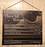 """Lobby Cast Board for the Opening Night Curtain Call for """"Three Tall Women"""" starring Alison Pill, Glenda Jackson and Laurie Metcalf at the Golden Theatre on 3/29/2018 in New York City."""
