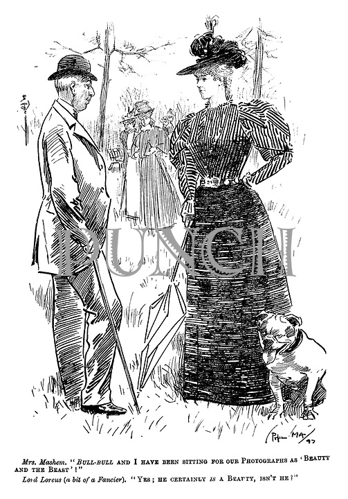 """Mrs. Mashem. """"Bull-bull and I have been sitting for our Photographs as 'Beauty and the Beast'! Lord Loreus (a bit of a Fancier). """"Yes; he certainly is a Beauty, isn't he?"""""""