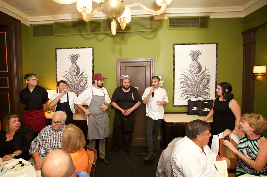 New York, NY - July 26, 2016: The team from Marigold Kitchen present dinner at The James Beard House.<br /> <br /> CREDIT: Clay Williams for The James Beard Foundation.<br /> <br /> &copy; Clay Williams / claywilliamsphoto.com