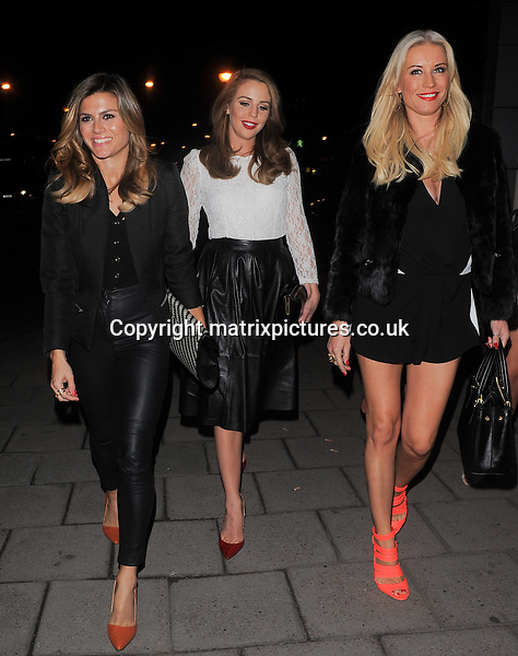 NON EXCLUSIVE PICTURE: PALACE LEE / MATRIXPICTURES.CO.UK<br /> PLEASE CREDIT ALL USES<br /> <br /> WORLD RIGHTS<br /> <br /> British television stars Denise Van Outen, Zoe Hardman and Lydia Bright are pictured leaving Mango Tree restaurant in London.<br /> <br /> The girls were all seen leaving together after a fun girlie meal at the swish Belgravia eatery.<br /> <br /> MARCH 22nd 2014<br /> <br /> REF: LTN 141455