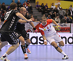 15.01.2013 Granollers, Spain. IHF men's world championship, prelimanary round. Picture show Aymen Toumy   in action during game between Tunisia vs Montenegro at Palau d'esports de Granollers