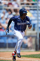 Binghamton Rumble Ponies center fielder Champ Stuart (2) runs to first base during a game against the Altoona Curve on June 14, 2018 at NYSEG Stadium in Binghamton, New York.  Altoona defeated Binghamton 9-2.  (Mike Janes/Four Seam Images)