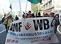 October 13, 2012, Tokyo, Japan - Protesters march the streets of Tokyo in a demonstration against the annual meeting of International Monetary Fund and the World Bank on Saturday, October 13, 2012. Global financial ministers called for quick and effective action to safeguard faltering economic growth and rebuild shaken confidence as they ended the annual meeting in the nation's capital. (Photo by Natsuki Sakai/AFLO) AYF -mis-