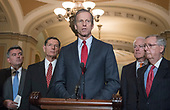 United States Senator John Thune (Republican of South Dakota) makes remarks following the Republican Party policy luncheon in the US Capitol in Washington, DC on Tuesday, January 23, 2018.  Pictured from left to right: US Senator Cory Gardner (Republican of Colorado), US Senator John Barrasso (Republican of Wyoming), Senator Thune, US Senator John Cornyn (Republican of Texas), and US Senate Majority Leader Mitch McConnell (Republican of Kentucky).<br /> Credit: Ron Sachs / CNP