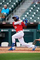 Buffalo Bisons Anthony Alford (26) at bat during an International League game against the Indianapolis Indians on June 20, 2019 at Sahlen Field in Buffalo, New York.  Buffalo defeated Indianapolis 11-8  (Mike Janes/Four Seam Images)