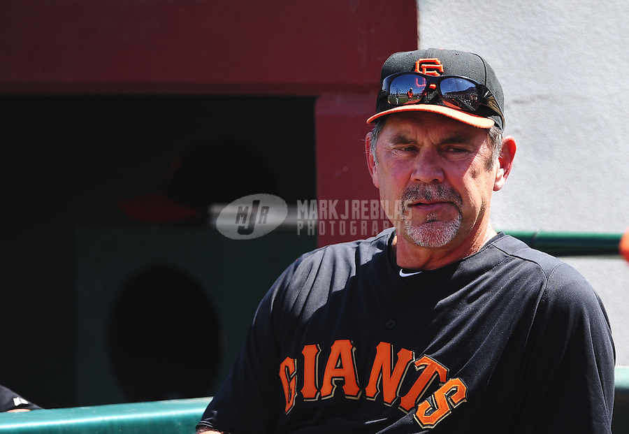 Mar. 28, 2012; Scottsdale, AZ, USA; San Francisco Giants manager Bruce Bochy in the first inning against the Los Angeles Dodgers at Scottsdale Stadium.  Mandatory Credit: Mark J. Rebilas-