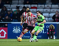 Lincoln City's Jason Shackell vies for possession with  Forest Green Rovers' Theo Archibald<br /> <br /> Photographer Andrew Vaughan/CameraSport<br /> <br /> The EFL Sky Bet League Two - Lincoln City v Forest Green Rovers - Saturday 3rd November 2018 - Sincil Bank - Lincoln<br /> <br /> World Copyright &copy; 2018 CameraSport. All rights reserved. 43 Linden Ave. Countesthorpe. Leicester. England. LE8 5PG - Tel: +44 (0) 116 277 4147 - admin@camerasport.com - www.camerasport.com